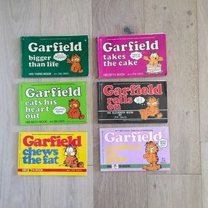 Set 0f 6 Garfield 80s Nostaga Comic Strip Books